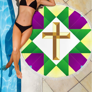 Gold & Purple Cross Beach Towel - Christianity Amore