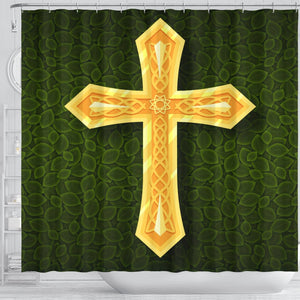 Regal Gold Cross Shower Curtain - Christianity Amore