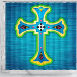 Blue Modern Cross Shower Curtain - Christianity Amore