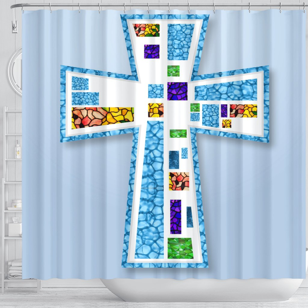 Blue Mosaic Cross Shower Curtain - Christianity Amore