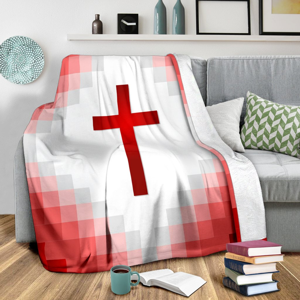 Red Gingham Cross Blanket - Christianity Amore