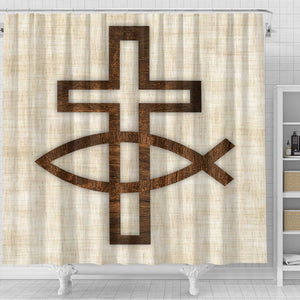 Tan Cross & Fish Shower Curtain - Christianity Amore