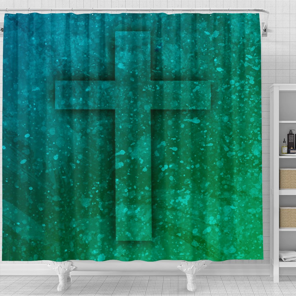 Blue - Green Tye Dye Shower Curtain - Christianity Amore