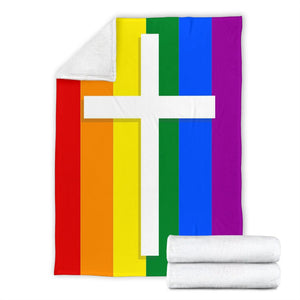 LBGTQ Cross Blanket - Christianity Amore