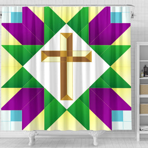 Purple Green & Gold Cross  Shower Curtain - Christianity Amore