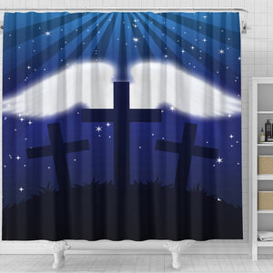 Three Cross with Wings - Shower Curtain - Christianity Amore