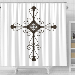 Cast Iron Black Cross Shower Curtain - Christianity Amore