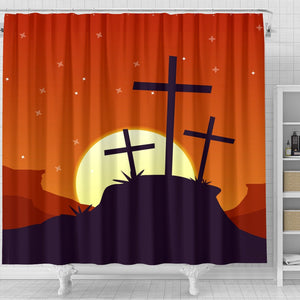 Moon Rise Cross Shower Curtain - Christianity Amore