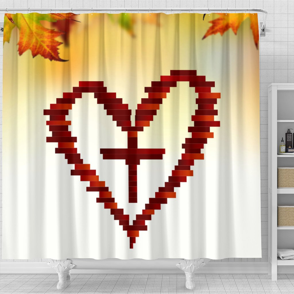Heart Cross Shower Curtain - Christianity Amore