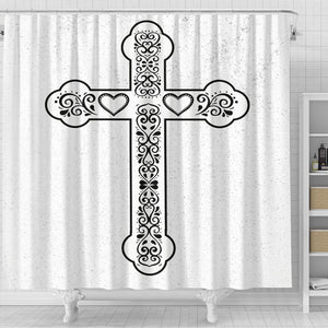 Scandinavian Black & White Cross Shower Curtain - Christianity Amore