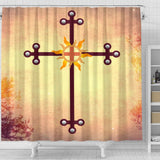 Metal Sun Cross Shower Curtain - Christianity Amore