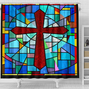 Stained Glass Cross Shower Curtain - Christianity Amore