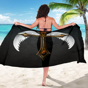 Black Jeweled Winged Cross Sarong - Christianity Amore