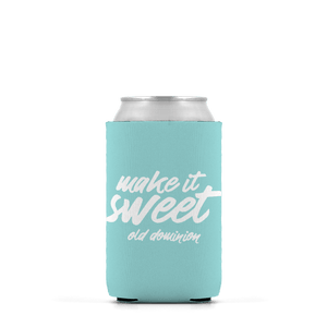 mint color koozie with the words make it sweet printed on both sides