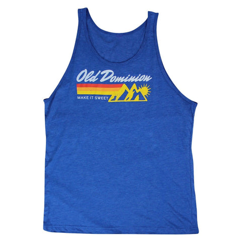 blue tank top with old dominion mountain logo