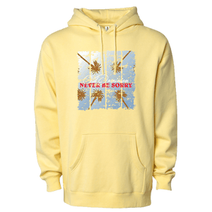 yellow hoodie with palm tree design