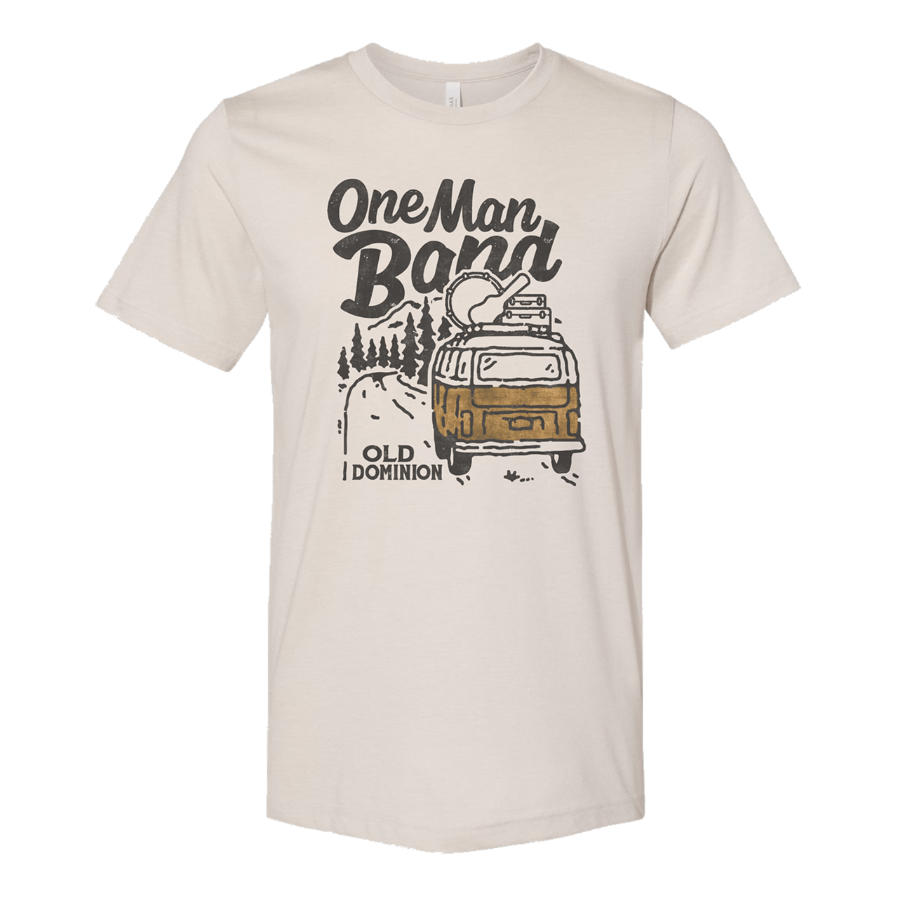 graphic shirt with a vw bus driving down a road lined with pine trees