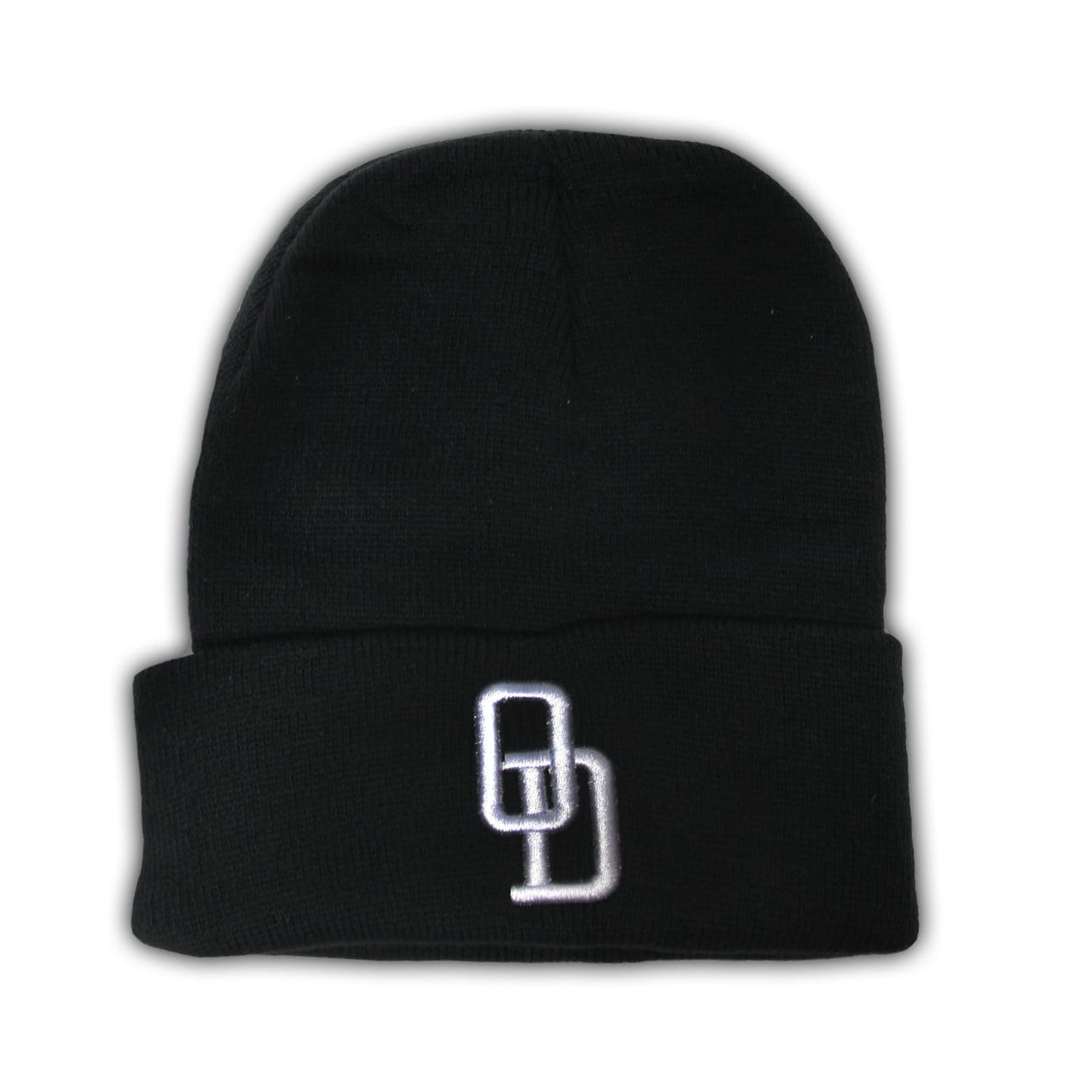Black knit beanie with O and D embroidered letters