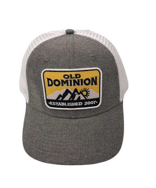 mountain scape yellow patch hat