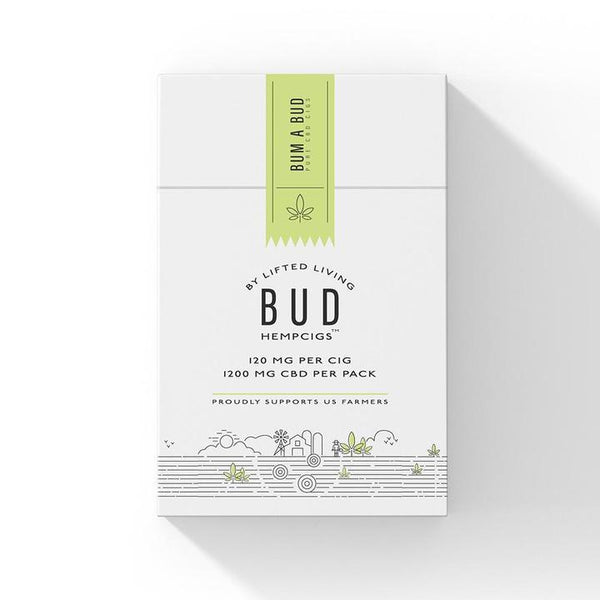 CARTON | Bud Hempcigs | 1200 mg per pack | 10 packs in a Carton