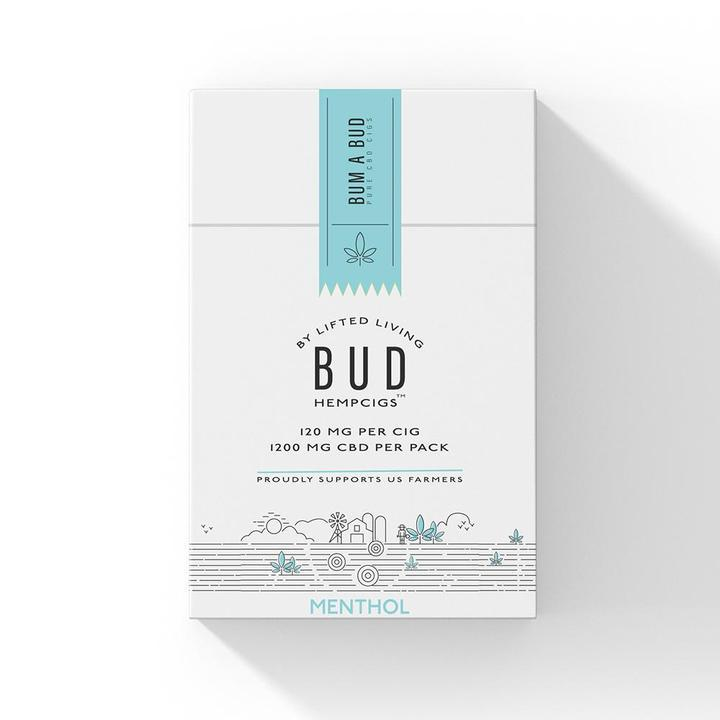 CARTON | Bud Hempcigs | 1200 mg per pack | 10 packs in a Carton | Menthol