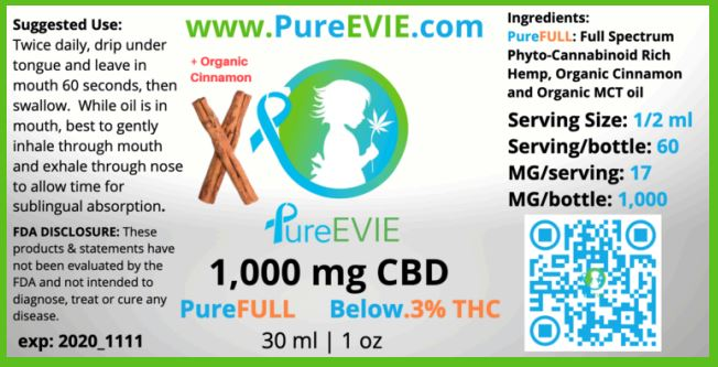CBD Oil | 1000 mg | 30 ml | Full Spectrum | Cinnamon