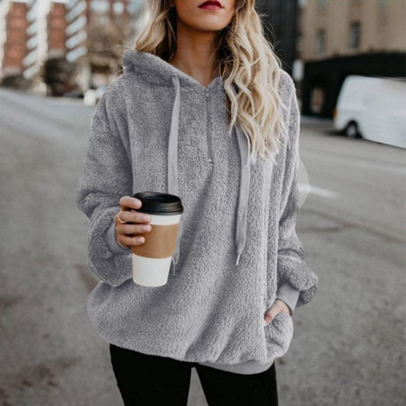 Women winter solid hoodies