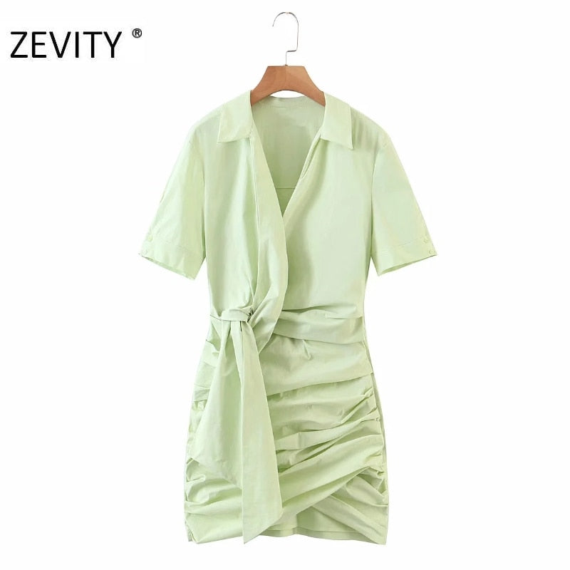 New women fashion solid color knotted pleated shirt ni dresses DS4286