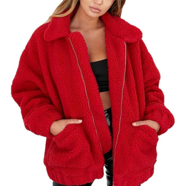 Women  Casual Warm Soft Zipper Fur Jacket Plush Overcoat Pocket