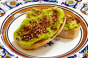 Avocado Toast with Dukkah Blend has delicious woodsy hazelnut, sesame, and herbal flavors followed by a pleasant lingering Aleppo Pepper heat.
