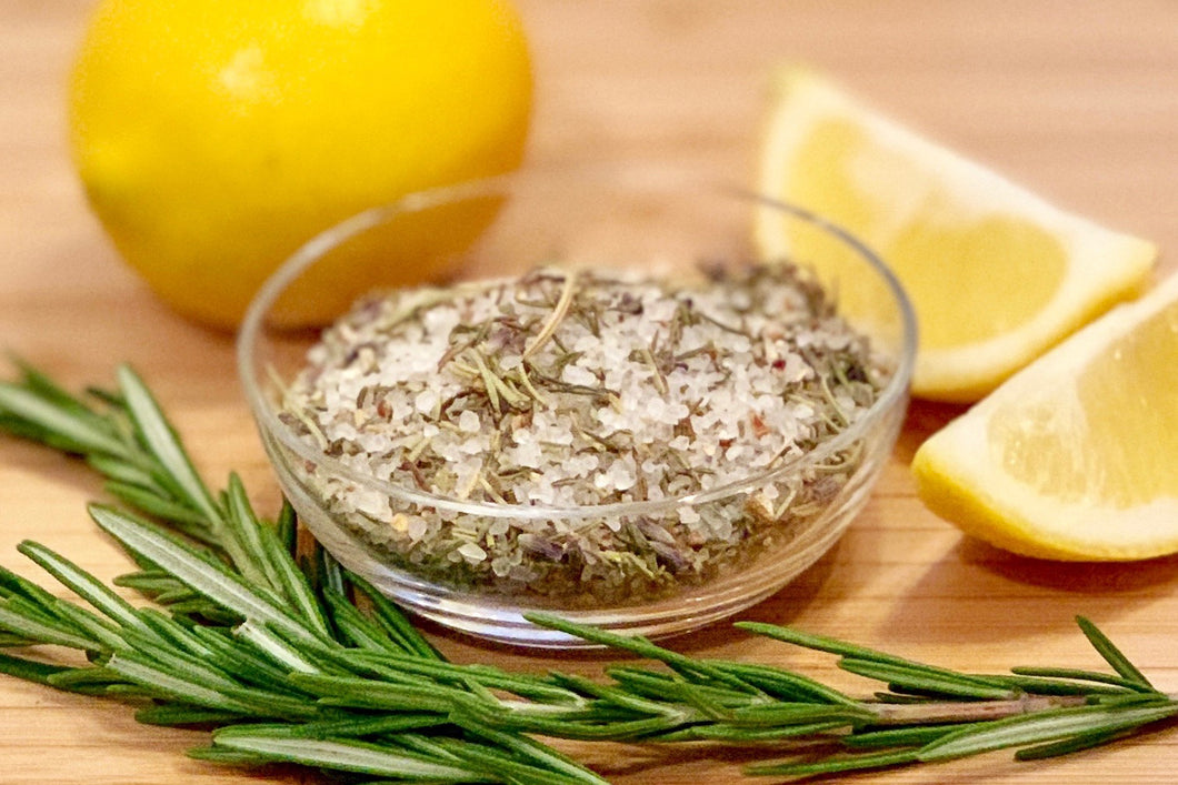 Citrus Herb Seasoning Salt Blend beckons you with a nose of rosemary and lavender, reminiscent of a warm evening walk along a path lined with rosemary and lavender bushes as the moon rises over the Italian countryside.