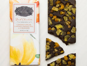Candied Ginger + Candied Orange Peel + Coriander Chocolate Bar