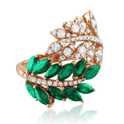 Vincents Fine Jewelry | Jane Kaye | Double Leaf Emerald Ring