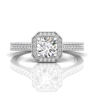Vincents Fine Jewelry | Martin Flyer | Bead Set Micropave Halo Engagement Ring