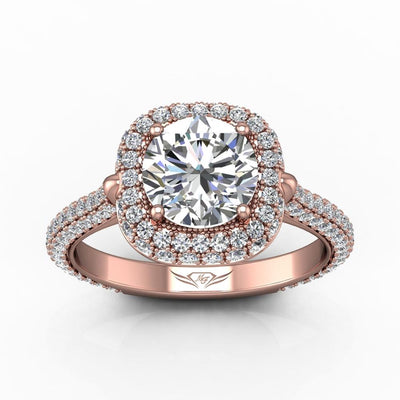 Vincents Fine Jewelry | Martin Flyer | Micropave Halo Engagement Ring