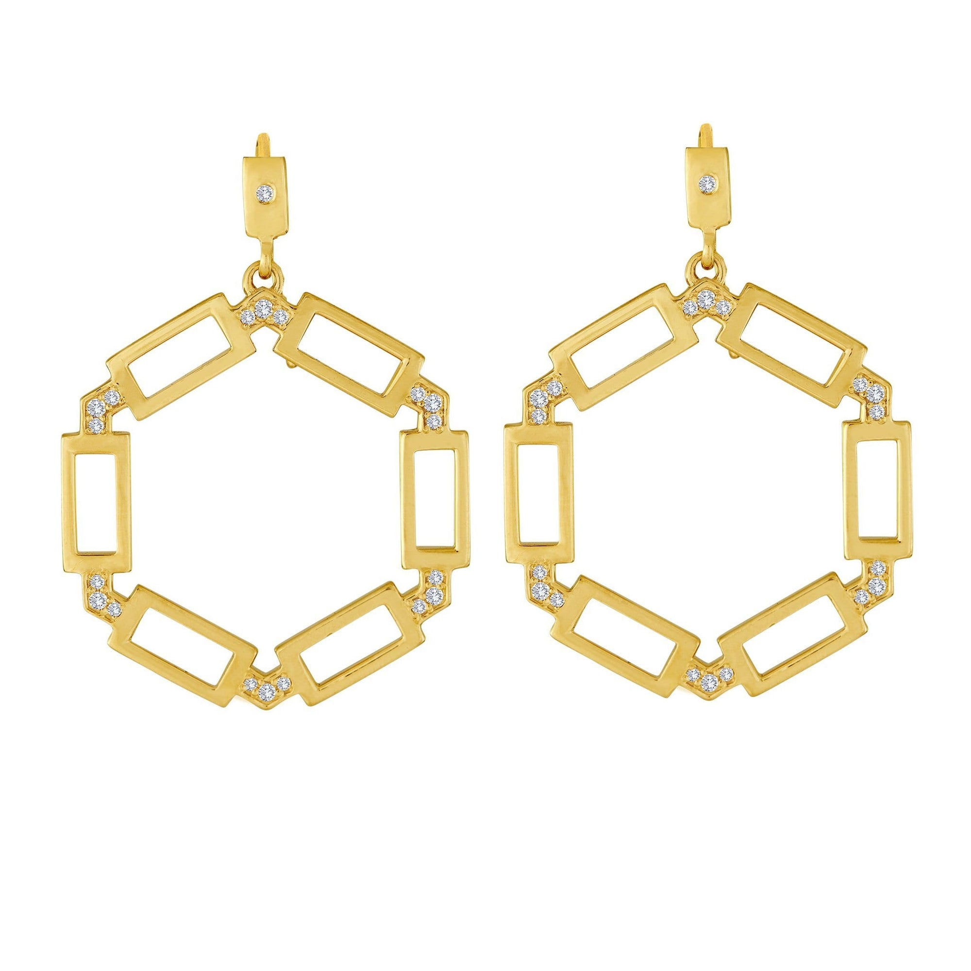 Block Hoop Earrings: 18k Gold, Diamonds