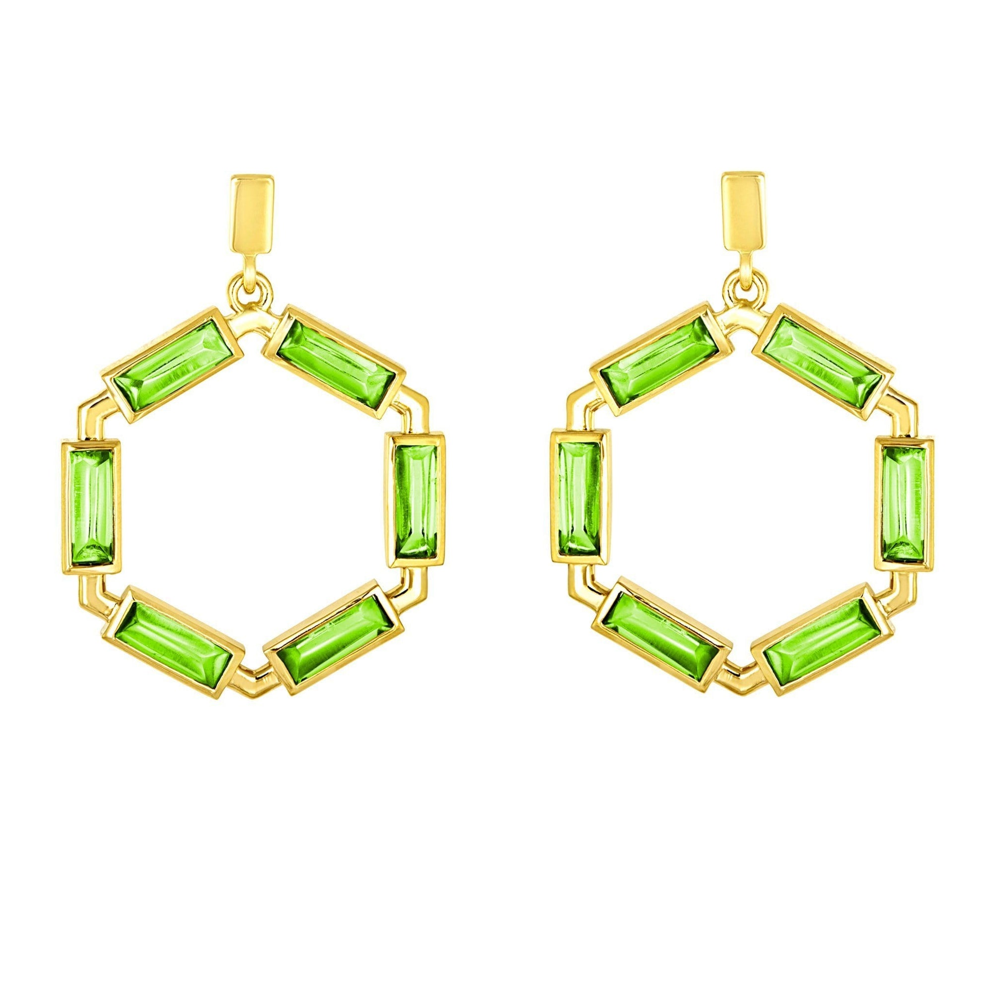 Block Hoop Earrings: 18k Gold, Peridot Baguettes