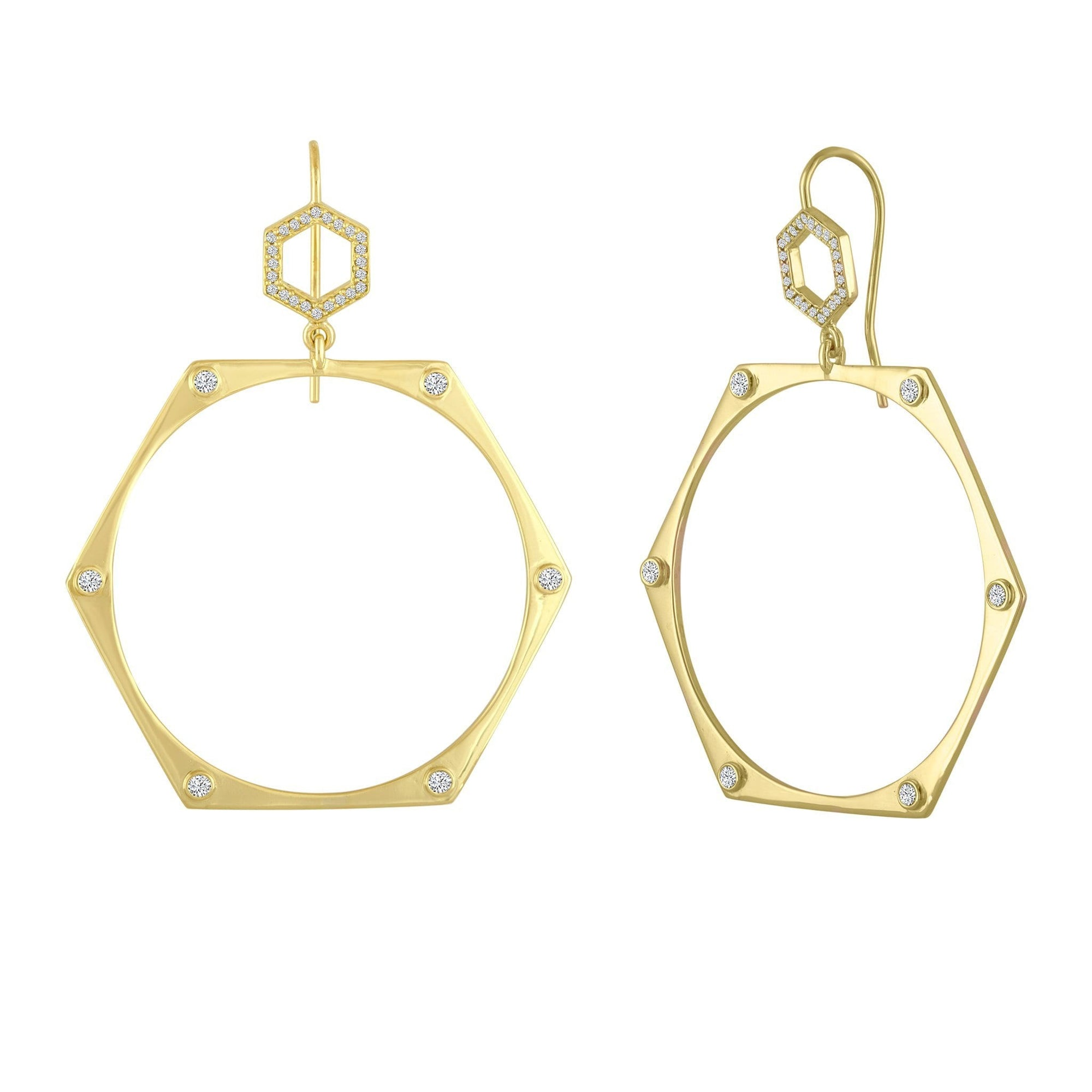 Mix Earrings: 18k Gold, Champagne Diamonds