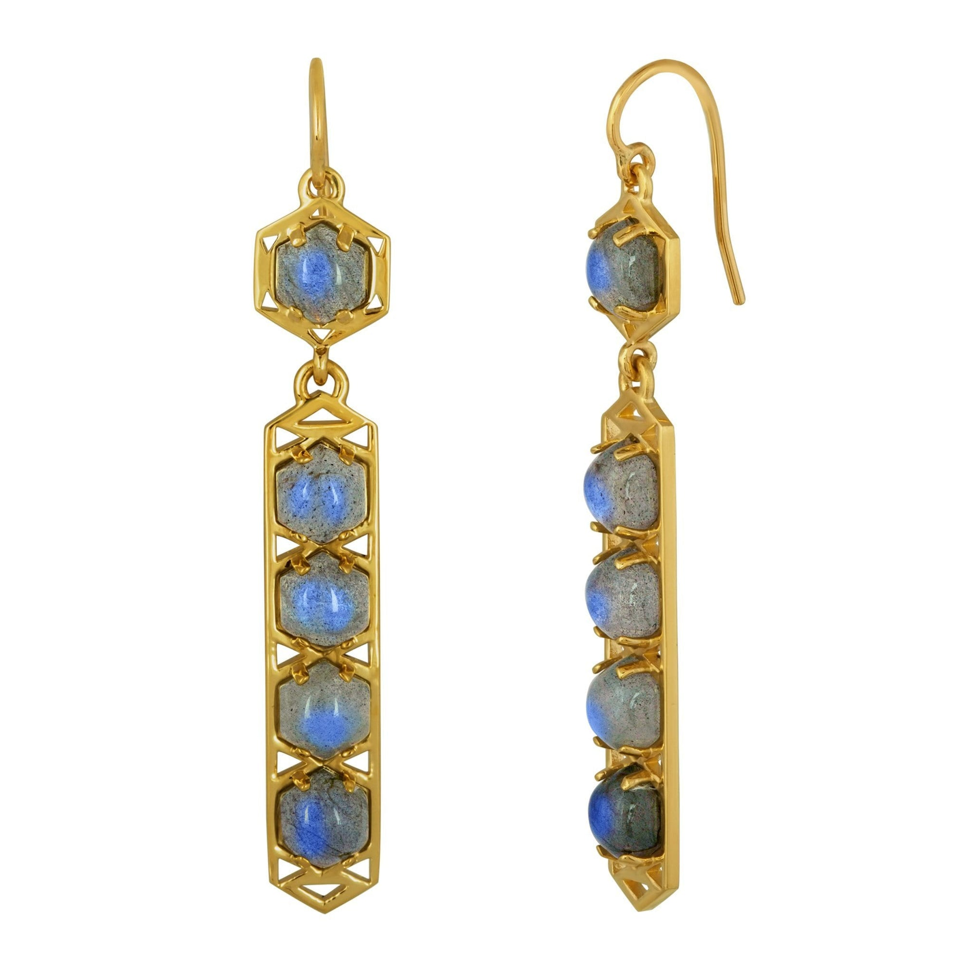 Stretto Earrings: 18k Gold, Hexagon Cabachon Labradorite