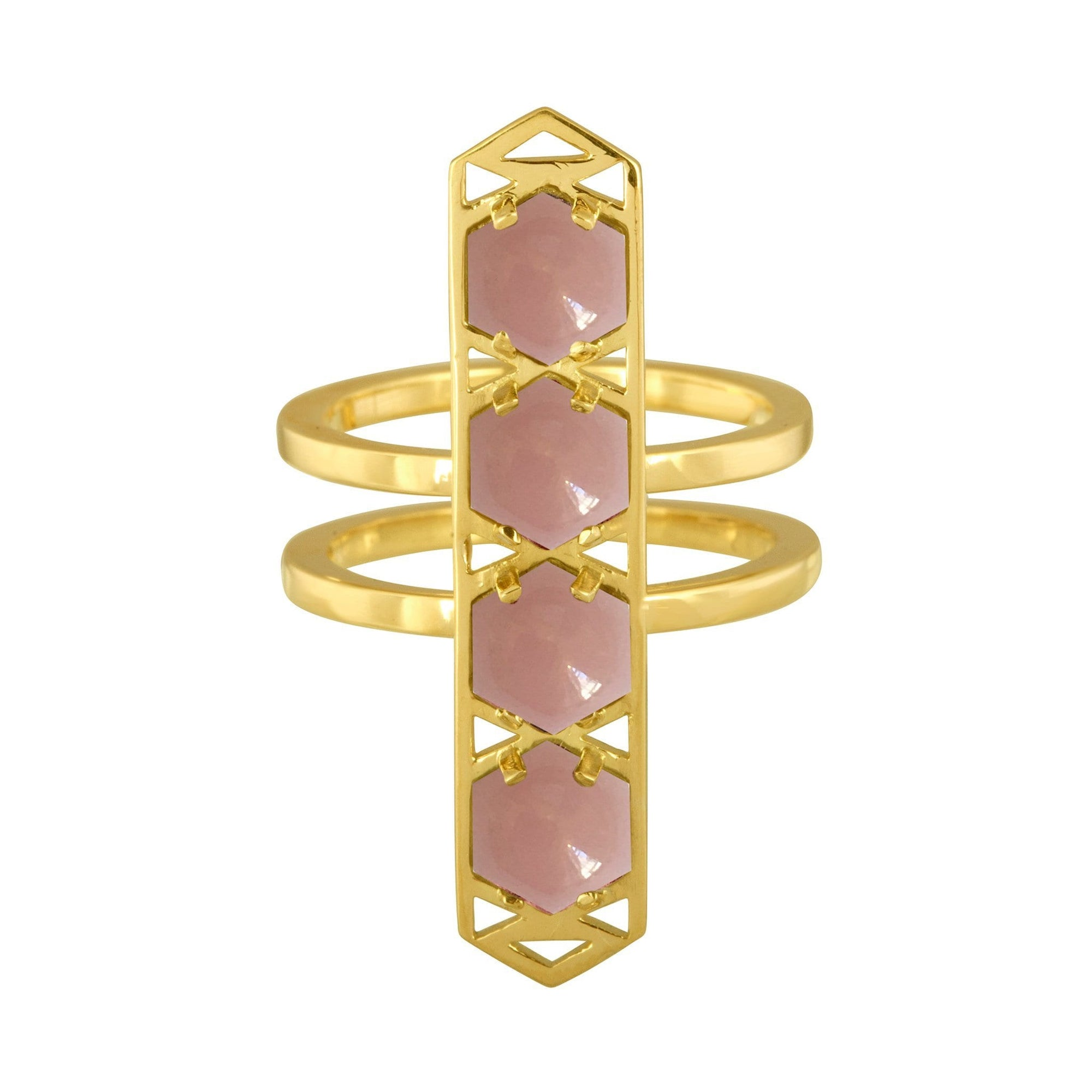 Stretto Ring: 18k Gold, Hexagon Cabachon Guava Quart