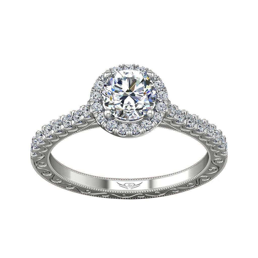 Vincents Fine Jewelry | Martin Flyer | Cutdown Micropave Hand Engraved Engagement Ring