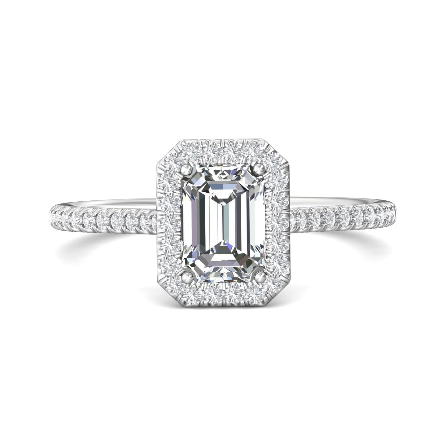 Martin Flyer, FlyerFit Micropave Platinum Halo Engagement Ring