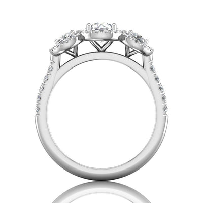 Vincents Fine Jewelry | Martin Flyer | Three Stone Halo Engagement Ring
