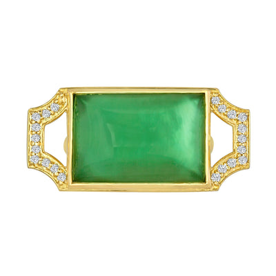 Edge Ring: 18k Gold, Prasiolite Doublet, Grey Diamonds