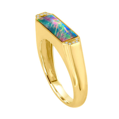 Edge Opal Signet Ring