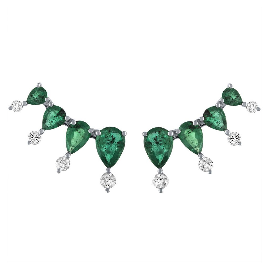 Vincents Fine Jewelry | Jane Kaye | Emerald Teardrop Ear Climbers