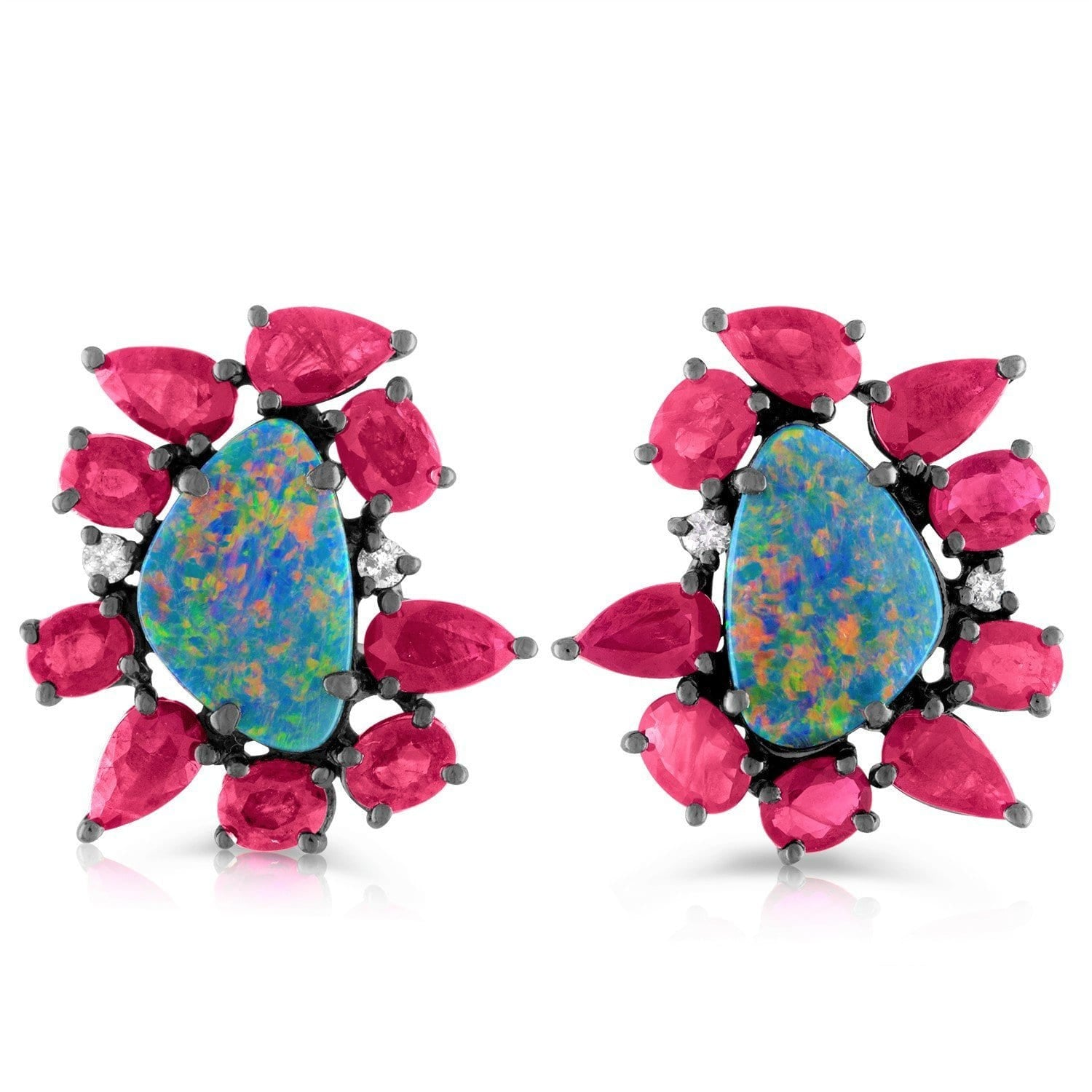 Jane Kaye | Mixed Media Opal & Ruby Studs