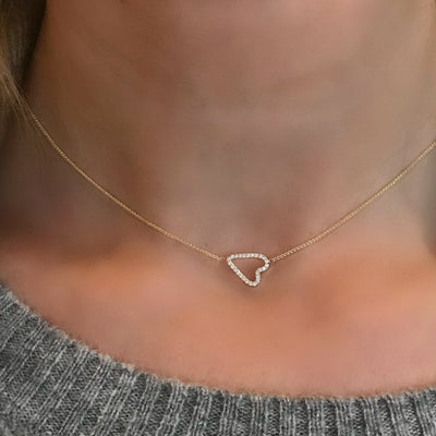 Jane Kaye | Sideways Pave Heart Necklace