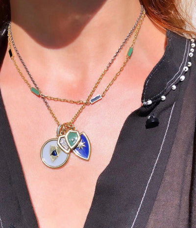 Enamel Double Baquette Necklace