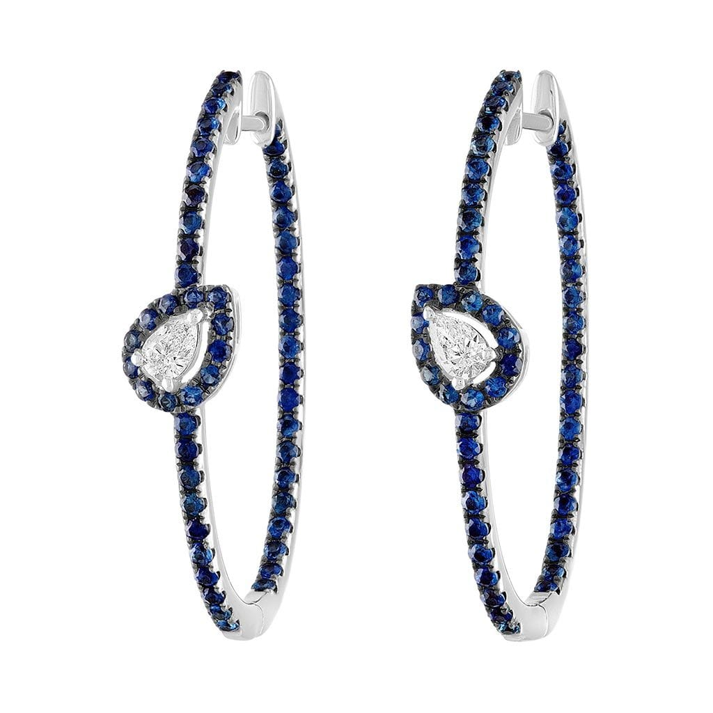 Vincents Fine Jewelry | Jane Kaye | Blue Sapphire & Diamond Oval Hoops